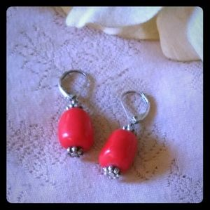Vintage Single Red Bead Dangle Earrings